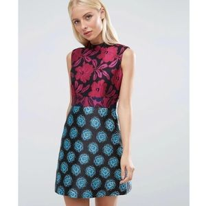ASOS High Neck Mini Dress in Mix & Match Jacquard